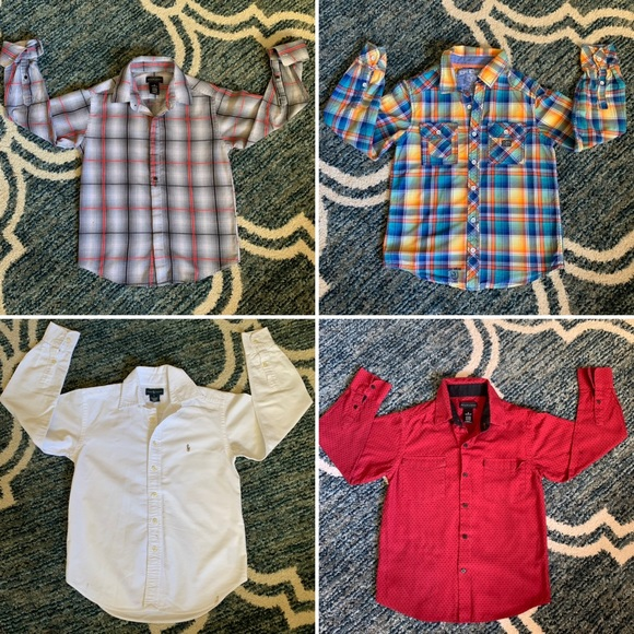 8f31b4a9 Lot 4 L/S B/D shirts 8 Boys Ralph Lauren Sean John